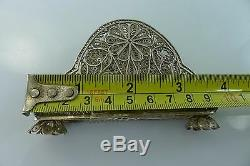 Antique Vintage 68 Grams All Solid Silver Filigree Made Decorated Napkin Holder