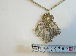 Antique Vintage. Rare solid band all silver, necklace with diamonts stone 7.5 mm