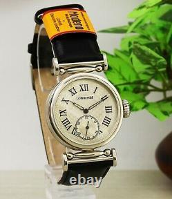 Antique mechanism Longines all stainlees steel marriage skeleton wristwatch