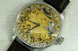 Antique mechanism, chronometer all stainlees steel marriage skeleton wristwatch