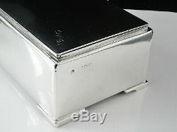 Art Deco Silver Cigarette Box, London 1939, Richard Comyns, All Silver Lid