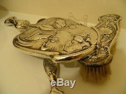 Art Nouveau Silver Hand Mirror, Brush & Shoe Horn. All Hallmarked