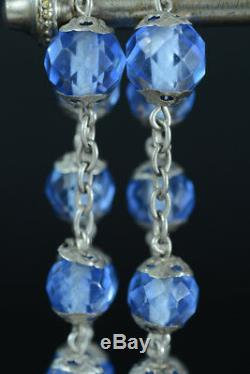 Art Nouveau large superb antique french Rosary silver all caped blue crystal