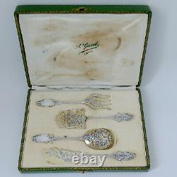 Bardies French All Sterling Silver 18k Gold Dessert Hors D'oeuvre Set 4 Pc, Box