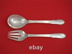Beaded by Georg Jensen Sterling Silver Salad Serving Set 2pc All Sterling 8 1/2