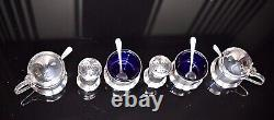 Beautiful Solid Sterling Silver 6 Piece Cruet Set all Blue Glass liners & Spoons
