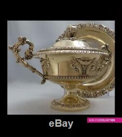 COURTOIS ANTIQUE 1840s FRENCH STERLING SILVER ALL VERMEIL18k GOLD SUGAR BOWL