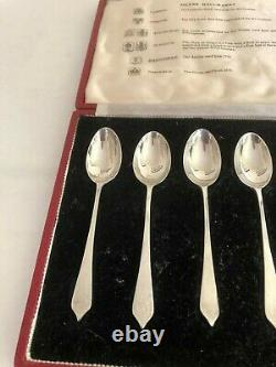 Cased Set Of 6 British Hallmarked Solid Silver Coffee Spoons (all 1958) 4.5