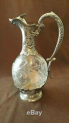 Claret jug sterling silver French antique with all stamps no damage