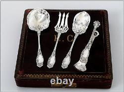 Coignet French All Sterling Silver Dessert Hors D'oeuvre Set 4 pc withbox Apples