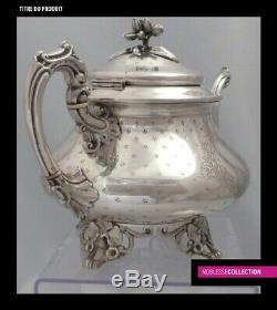 DEBAIN ANTIQUE 1860s FRENCH ALL STERLING SILVER TEA POT Napoleon III Style 711g