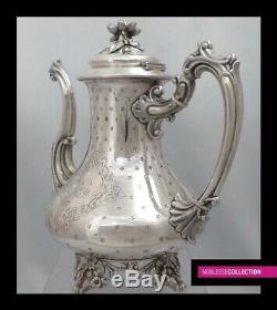 DEBAIN ANTIQUE 1880s FRENCH ALL STERLING SILVER COFFEE POT Napoleon III St. 765g