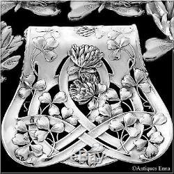 Debain French All Sterling Silver Asparagus Sandwiches Grip, Clover, Art Nouveau