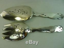 Denmark rare quite large all sterling silver art deco design fish serving spoons