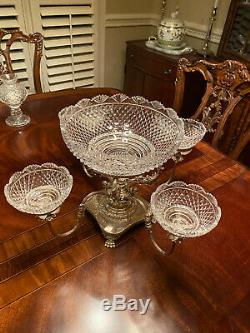 Epergnes by All Makers Centerpiece Silverplate Waterford Crystal Bowls MINT
