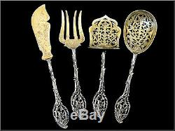 Ernie French All Sterling Silver 18Kk Gold Dessert Hors D'oeuvre Set 4 pc withbox