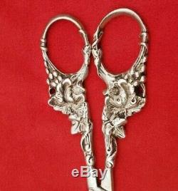 Exquisite Vintage All Sterling Silver Grape Shears with Grape Designs #6309