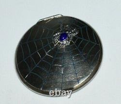 FABULOUS RARE Antique 875 SILVER JEWELED SPIDER WEB Compact ALL ORIGINAL