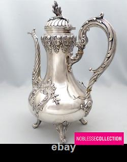 FLAMANT LARGE 10.83 in. ANTIQUE 1880s FRENCH ALL STERLING SILVER COFFEE/TEA POT