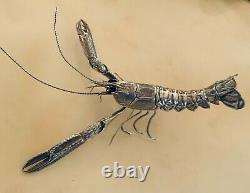 Faberge, Cartier Level Piece Luxury Sterling Silver Lobster All Parts Move