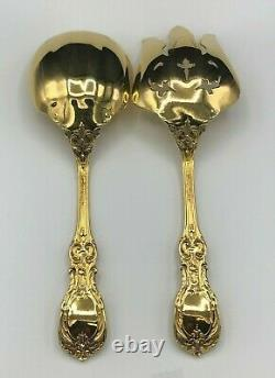 Francis I by Reed & Barton sterling 2 piece all Silver Salad Set, Gold Plated