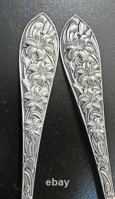 Frank M Whiting LILY Pattern All Sterling Salad Serving Set