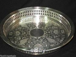 GORHAM SILVER ROUND PIERCED RAILING SALVER TRAY PLATTER view all our listings