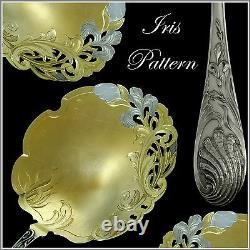 Gabert Fabulous French All Sterling Silver 18k Gold Strawberry Spoon Iris
