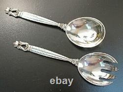 Georg Jensen Acorn All Sterling 8 Serving Set Spoon & Fork