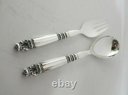 Georg Jensen Acorn Sterling Silver Salad Servers. All Sterling. 8.5 Long