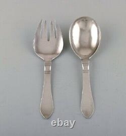 Georg Jensen Continental salad set in hammered sterling silver. All silver