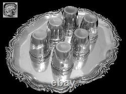 Gorgeous French All Sterling Silver Vermeil Liquor Cups 6 pc withTray Rococo