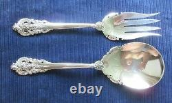 Grande Baroque Wallace Salad Serving Set All Sterling 9 3/8 Gift Condition