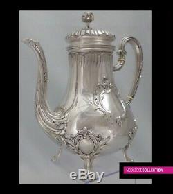 HARLEUX ANTIQUE 1890s FRENCH ALL STERLING SILVER TEA OR COFFEE POT SET 3pc 1384g