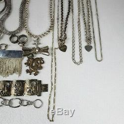 Huge 517 Gram Vintage. 925 Sterling Silver Jewelry Lot All Wearable Nice Pieces