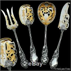 Huignard French All Sterling Silver 18K Gold Dessert Hors D'oeuvre Set 4 Pc
