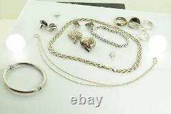 Jewelry Lot Sterling Silver All Marked 111.3 g Rings Bracelets Earrings ETC