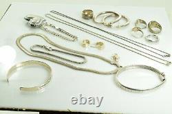 Jewelry Lot Sterling Silver All Marked 129.6 g Rings Bracelets Earrings ETC