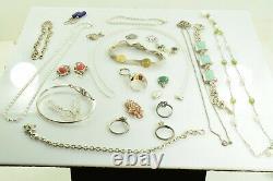 Jewelry Lot Sterling Silver All Marked 132.0 g Rings Bracelets Earrings ETC