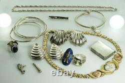 Jewelry Lot Sterling Silver All Marked 161.6 g Rings Bracelets Earrings ETC