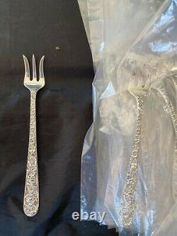 KIRK & SON REPOUSSE STERLING SET OF 12 SEAFOOD FORKS all from 1 set polished