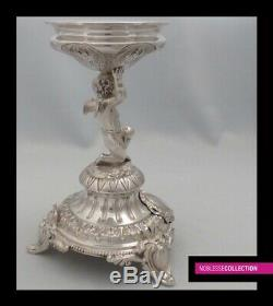 LUXURIOUS ANTIQUE 1880s FRENCH ALL STERLING SILVER CENTERPIECE CUP Putti/Cherub