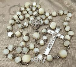 Large French Antique All Capped Mother Pearl Sterling Silver 800 Rosary Stanhope