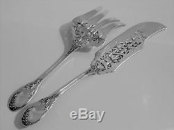 Lefevre Fabulous French All Sterling Silver Fish Servers 2 pc Vine Leaves