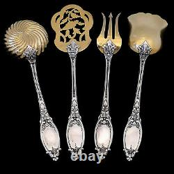 Maillard French All Sterling Silver 18k Gold Dessert Set 5 Pc, Box, Neoclassical
