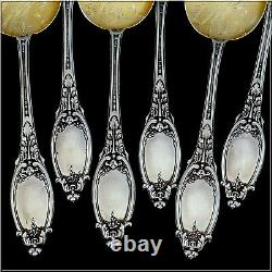 Maillard French All Sterling Silver 18k Gold Ice Cream Spoons Set 6 Pc