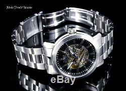 New Invicta 45mm Vintage Automatic Skeletonized Dial All Silver Bracelet Watch