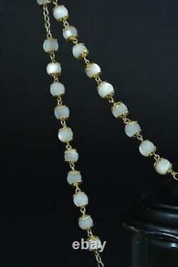 Nice french antique Rosary Silver Vermeil Mother of Pearl all caped signed Penin