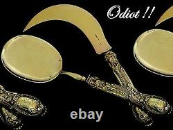 Odiot Rare French All Sterling Silver 18k Gold Ice Cream Set 2 pc Rococo