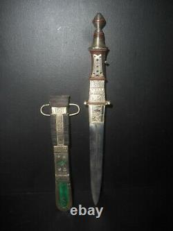 Old African Tuareg Knife All In Silver Decorations, North Niger